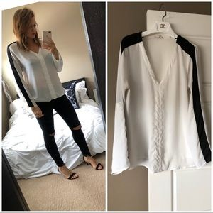 Pleione black and white blouse
